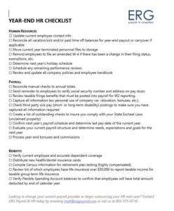 year end hr checklist